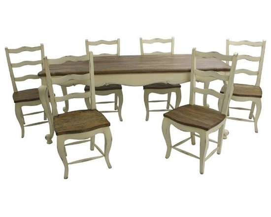 Chichi Furniture Exclusives. - A stunning Rustic Dining set oozing French style and character, finished in Antique Ivory with moderate faded distressing. A substantial chunky french dining table with our classic Rustic French country finished top and beautiful cabriole style legs. Complete with six matching dining chairs.