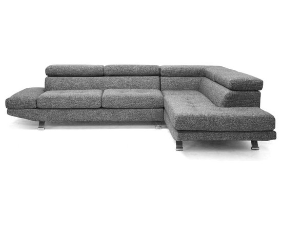 "Baxton Studio - Baxton Studio Adelaide Gray Twill Fabric Modern Sectional Sofa - With its sharp, modern lines and chrome-plated steel legs, our Adelaide Sectional Sofa's a stunner.  Sizable and spacious, this modern fabric Sofa's perfect for making a statement in a large room, seating a large family for a favorite movie, or for just the two of you,spread out and relax.  One of the most unique features of the modern Sofa's the ability for the headrests to be moved into any of 7 different locking positions (corner excluded).  This sturdy 2-piece sectional is made with a combination of solid hardwood and plywood and is completed with s-springs, belt webbing, spring pockets, and dense foam cushioning.  A woven polyester twill fabric with a combination of both cream and black fibers upholsters the set, which appears gray when viewed as a whole.  Note that the sofa and chaise do not secure to one another.  All seat cushions are removable.  The modern sectional is made in China and requires assembly.  Spot clean only. Product dimension:78.5""Wx38""Dx(29.5""-37"")H with seat'sion 70.5""Wx20.5""Dx17.25""H      89""Wx38""Dx(29.5""-37"")H with seat'sion 72.5""Wx20.5""Dx17.25""H"