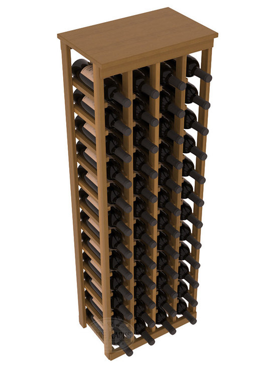 """48 Bottle Kitchen Wine Rack in Redwood with Oak Stain + Satin Finish - Store 4 complete cases of wine in less than 20"""" of wall space. Just over 4 feet tall, this narrow wine rack fits perfectly in hallways, closets and other """"catch-all"""" spaces in your home or den. The solid wood top serves as a shelf or table top for added convenience and storage of nick-nacks."""