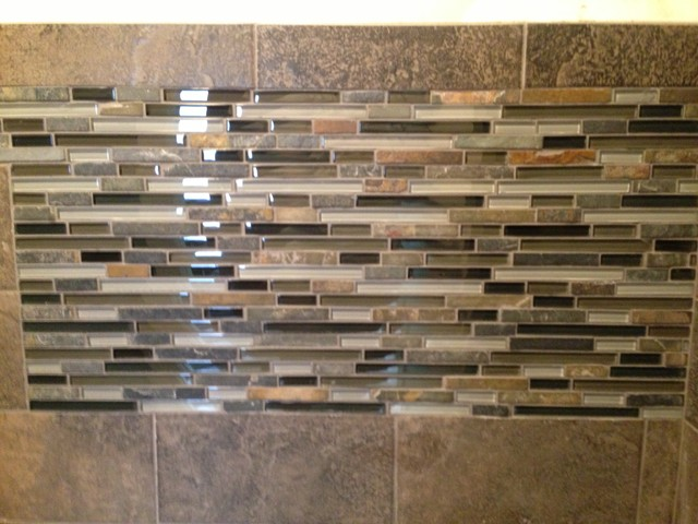 slate subway tile with glass mosaic vanity backsplash and