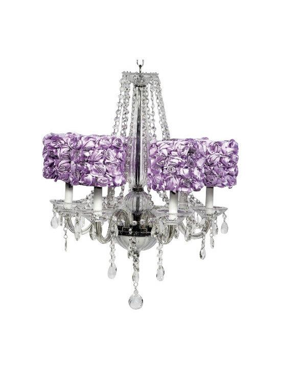 Glass 6 Light Middleton Chandelier with Lavender Rose Garden Drum Shades - Glass 6 Light Middleton Chandelier with Lavender Rose Garden Drum Shades
