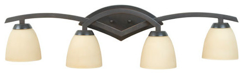 Viewpoint Oiled Bronze Gilded Four-Light Bath Fixture with Amber Frost Glass modern-bathroom-lighting-and-vanity-lighting