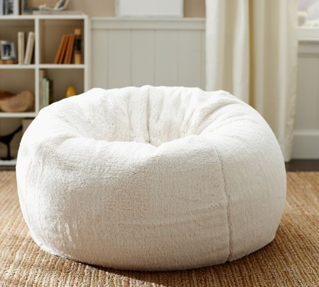 faux sheepskin beanbag cover contemporary bean bag chairs by pottery barn. Black Bedroom Furniture Sets. Home Design Ideas