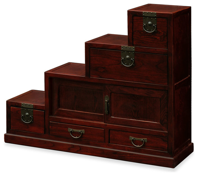 Elmwood japanese style step tansu asian storage and for Tansu bathroom vanity