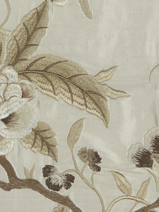 Custom Made Embroidered Dupioni Silk Curtains - Camellias are famous traditional flowers in Asia. Embroidery make the silk curtains look more than elegant. Bring the springtime into your room and create a spectacular of finery and flourishing.