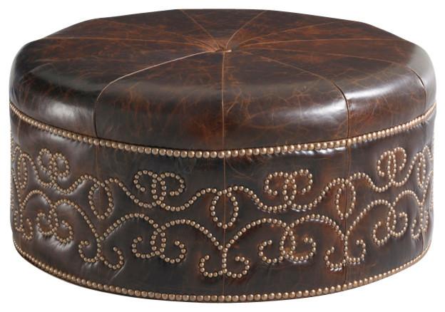 Lexington Florentino Guarding Leather Ottoman  Traditional
