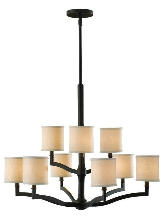 Feiss - Feiss Stelle 9-Light Oil Rubbed Bronze Cream Color Linen fabric Shade Chandelier - This 9-Light Drum shade Chandelier is part of the Stelle Collection and has an Oil Rubbed Bronze finish and a Cream Color Linen fabric shade. It is Dry Rated.