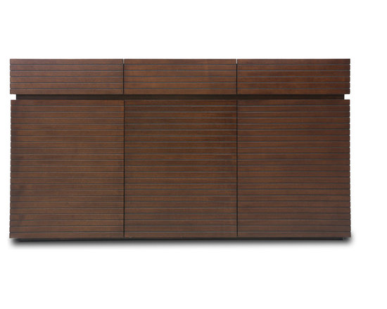 Bryght - Strip Cocoa Wood Sideboard - The Strip sideboard boasts a visually widening slim groove sleek design with modern undertones. Beautiful wood construction and a cocoa finish makes for a pleasing and aesthetically designed addition to any modern home decor.