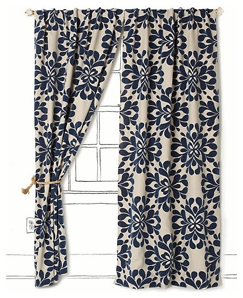 Navy Blue And Yellow Curtains: Coqo Floral Curtain, Navy