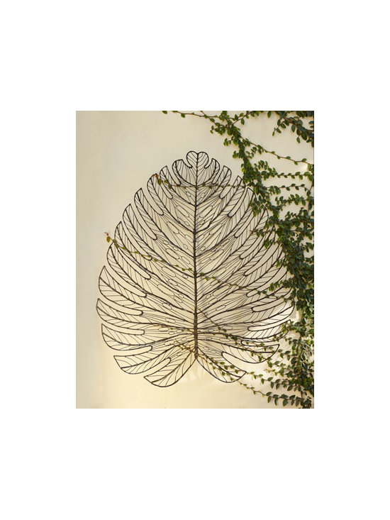 "Horchow - Giant Metal Leaf Wall Decor - Art mimics nature with a giant leaf sculpture for your wall. Hand-forged of metal. Antiqued finish. Spot welded for smooth edges. Suitable for outdoor use. 39.5""W x 5""D x 47""T. Imported. Boxed weight, approximately 14.4 lbs. Please note that t..."