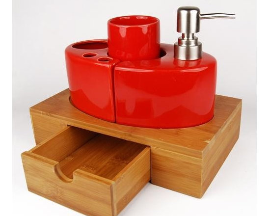 Red Ceramic Bath Accessory Set With Bamboo Caddy - Red Ceramic Bath Accessory Set With Bamboo Caddy