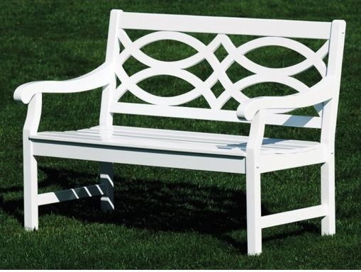 Hennell Eucalyptus White Lattice Back Bench Traditional