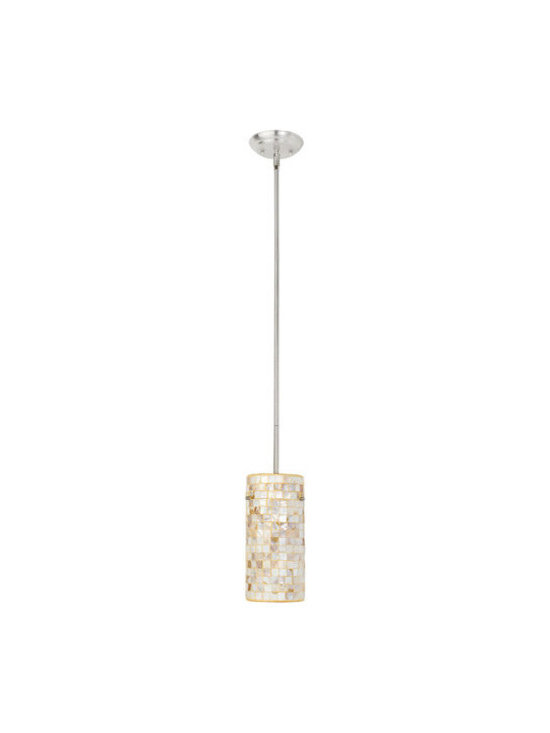 Globe Electric - Globe Electric 63954 Mother of Pearl 1 Light Pendant with Mosaic Glass Shade - Features: