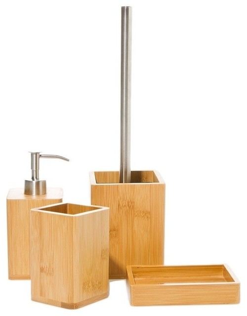 Bambu natural wood bathroom accessory set contemporary for Modern bathroom accessories set