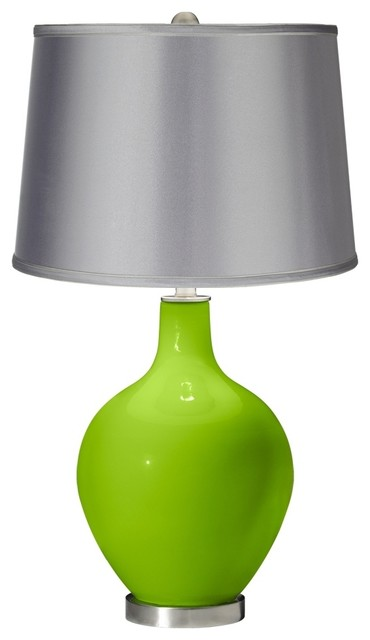 neon green satin light gray shade ovo table lamp. Black Bedroom Furniture Sets. Home Design Ideas
