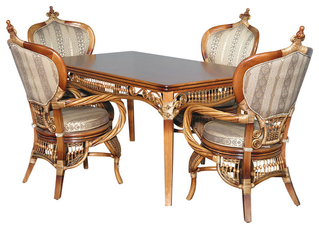 Beach Style Dining Sets: 5 Pc Rattan Elizabethan Table W/ 4 Arm Chairs Dining Set