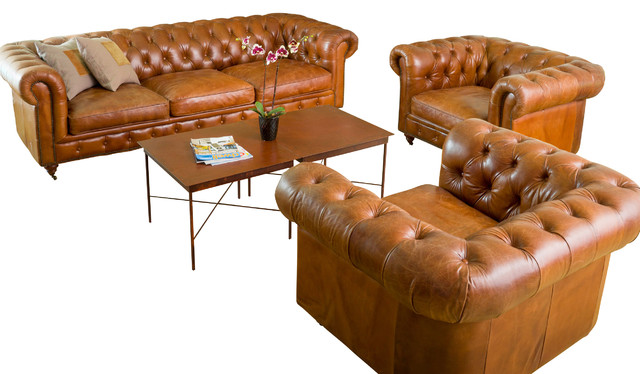 Claxton 3pc tufted brown top grain leather sofa set for Traditional tufted leather sofa