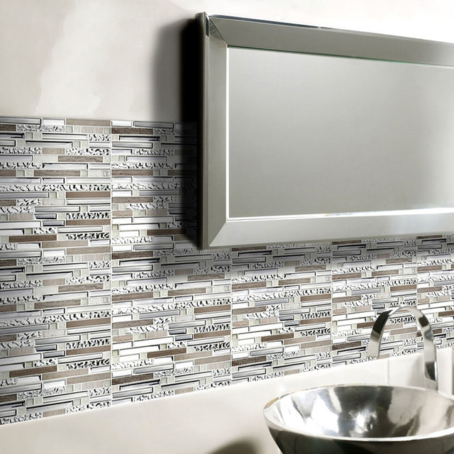 interlocking mosaic tile sheets stainless steel glass and