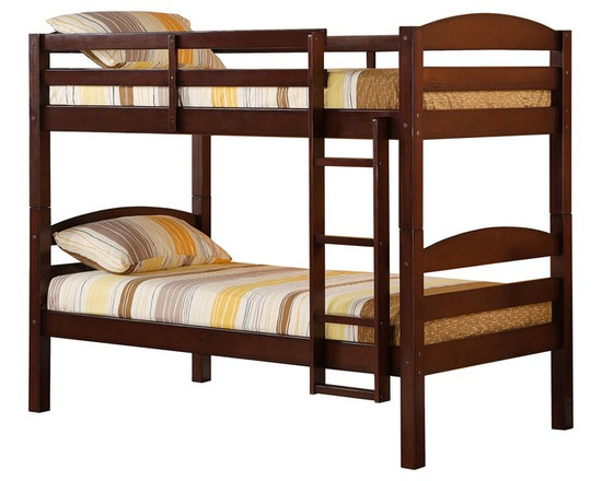 Walker Edison - Walker Edison Twin/Twin Solid Wood Bunk Bed - Espresso X-SETOTSWB - Beloved for it's compact foot print, this bunk bed is the perfect addition for any bedroom. Crafted from solid pine wood, this traditional bunk bed is functional, sturdy and exceptionally stylish. Features full length guardrails and an integrated ladder. A great solution for any space-saving needs, this bunk bed also easily converts into two individual beds for versatility.Features:&#8226: Stylish, traditional design&#8226: Solid hardwood construction&#8226: Rich, attractive finish&#8226: Easily and safely separates into two beds&#8226: Supports slats included, no box spring needed&#8226: Conforms to the latest consumer product safety standards&#8226: Ideal for space-saving needs&#8226: Maximum recommended upper mattress thickness of 9 in.&#8226: Each bunk supports 250 lbs.&#8226: Does NOT include mattresses or bedding&#8226: Ships ready-to-assemble with necessary hardware and tools&#8226: Assembly instructions included with toll-free number and online support