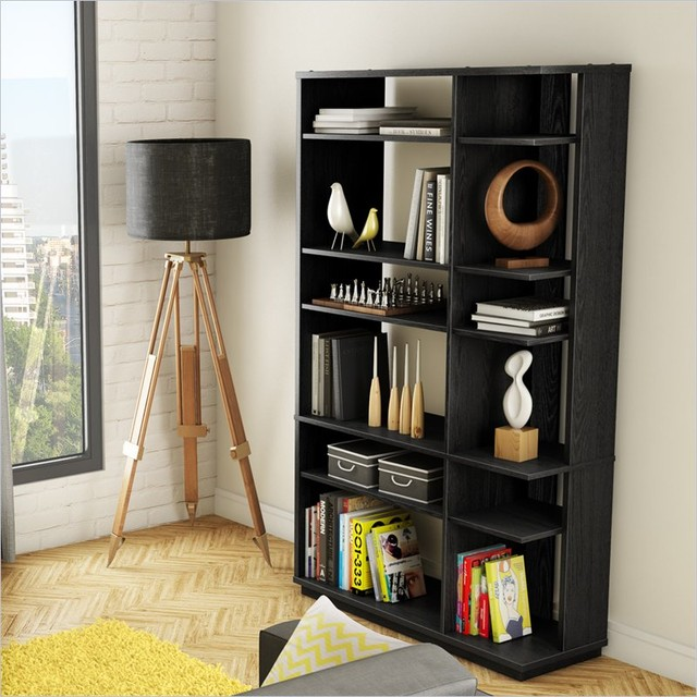 South Shore Equi Contemporary Style Shelf Bookcase in Black Oak modern-bookcases-cabinets-and-computer-armoires