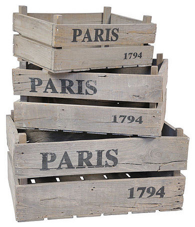 Paris Rustic Wooden Crates eclectic storage boxes