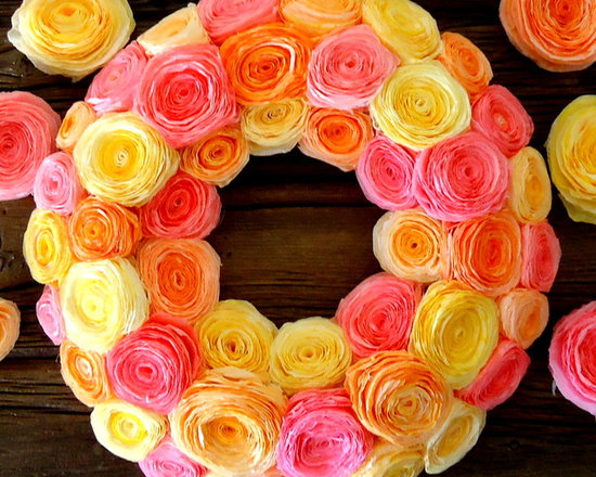 Hand Dyed Paper Wreath - Wreath created using paper flowers made from hand dyed coffee filters.