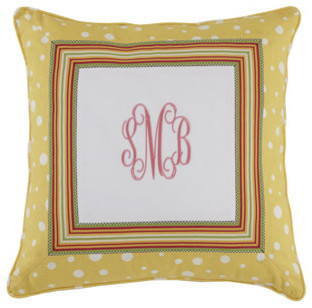 "Legacy Home 20""Sq. Dotted Pillow with Striped Border & Monogram traditional-decorative-pillows"