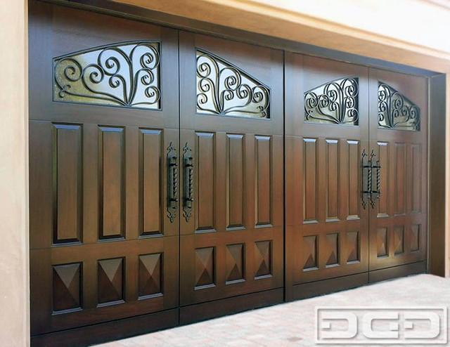 ... Custom Wood Garage Doors - Mediterranean - Garage Doors And Openers
