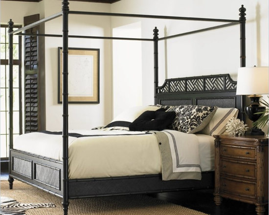 Henry Link West Indies Poster Bed in Weathered Black Finish - Carved bamboo posts with burnished metal canopy frame. Split rattan x-weave pattern on the headboard, footboard and side rails. Chippendale lattice design on the crown of the headboard. Agathis solids and Maple veneers. Posts break for high/low post option
