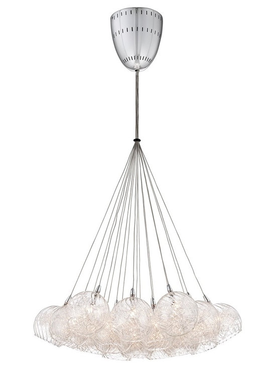 "Possini Euro Design - Possini Euro Wired 23 1/2"" Wide Chrome Multi Light Pendant - This stunning modern pendant light features a chrome finish bullet ceiling canopy upon which a cluster of nineteen glass globes are attached via cables. Inside each mouth-blown glass cup is a distinctive decoration made of aluminum wire. A breathtaking contemporary look from Possini Euro Design. Chrome and glass pendant light. Mouth blown glass. Aluminum wire. Includes nineteen 20 watt G4 halogen bulbs. 23 1/2"" wide. 42 1/4"" high. Comes with twelve 32"" height wire. Electronic transformer included. Canopy is 6"" round. Hang weight is 7lbs.  Chrome and glass pendant light.  Mouth blown glass.   Aluminum wire.   Includes nineteen 20 watt G4 halogen bulbs.    23 1/2"" wide.   42 1/4"" high.   Comes with twelve 32"" height wire.   Electronic transformer included.   Canopy is 6"" round.   Hang weight is 7lbs."