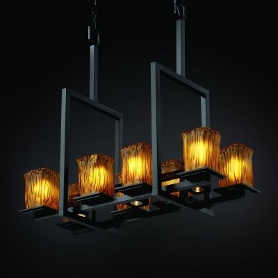 Justice Design Group Veneto Luce GLA-8618-26-AMBR-MBLK Montana 8-Up and 3-Downli modern-chandeliers