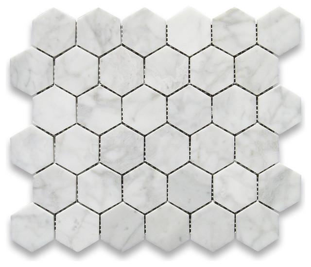 carrara white 2 inch hexagon mosaic tile polished marble