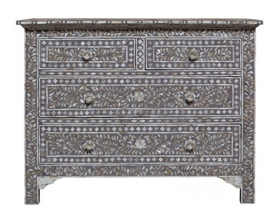 Mother of Pearl inlay Luxury Moroccan French Dresser Gray - This fabulous four-drawer chest dresser is a remarkable feat of superior craftsmanship and design. Painstakingly created from wood solids the finished overlay features mother of pearl inlays formed and shaped in a vine pattern, with beautiful drawer pulls and curved legs. Variations in bone inlay are not uncommon, giving each piece one-of-a-kind distinction.This wonderfully ornate pearl Inlaid takes a team of skilled craftsmen to complete. Individual pieces of reliably sourced camel bone have been skilfully carved and fixed into black resin on a wooden frame to create these items. Charlotte & Ivy thinks the results are simply stunning.