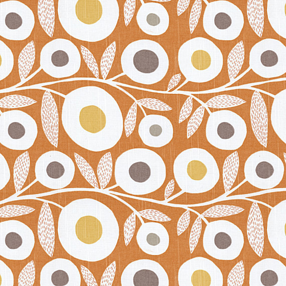 Orange Gray Graphic Floral Fabric Modern Upholstery