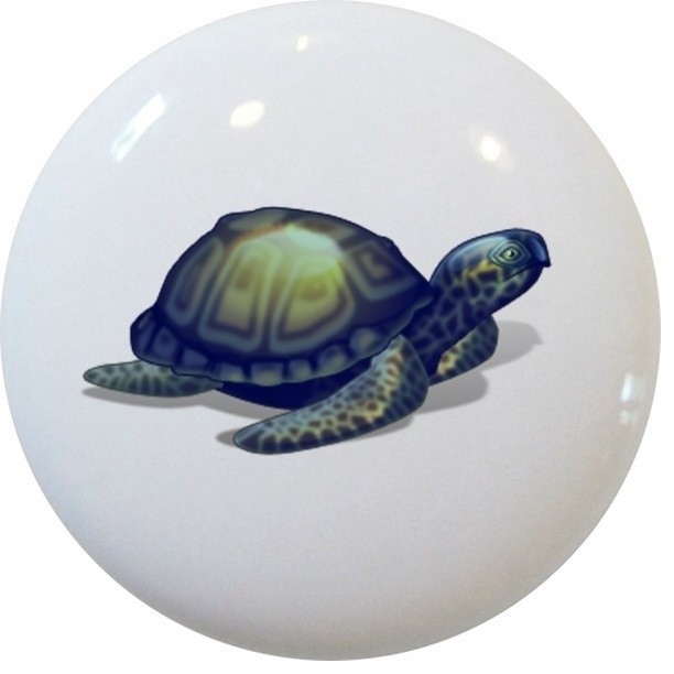 Blue Sea Turtle Ceramic Cabinet Drawer Knob - Beach Style - Cabinet And Drawer Knobs - by ...
