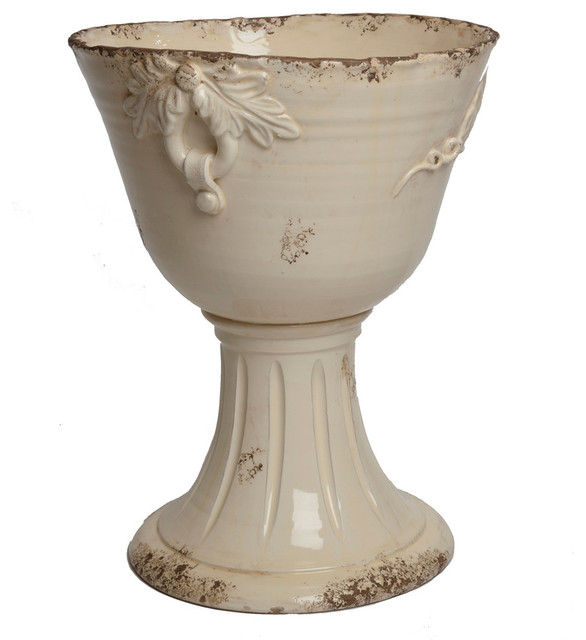 Large Footed Planter Transitional Indoor Pots And