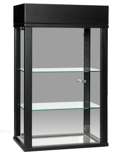 Black Rectangular Counter Top Display Case Contemporary