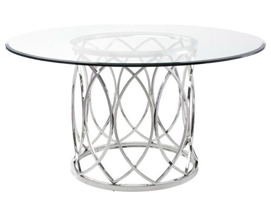 Juliette Dining Table - Juliette dining table is a high quality and elegant table with a round glass tabletop characterized by overlapping high polish stainless steel arches bound between two rings that forms the base. Dimensions: 59 x 59 x 29½ (inches).