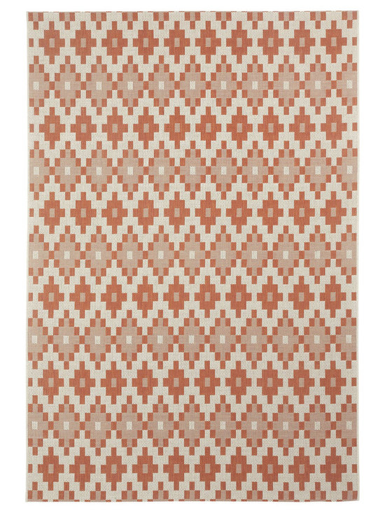 """Finesse Pueblo rug in Persimmon - An esteemed """"Capel Anywhere"""" rug collection woven on precision machine looms in Europe. These versatile rugs can be used in high traffic areas indoors - like kitchens and sunrooms - or to dress up covered porches and decks outside."""