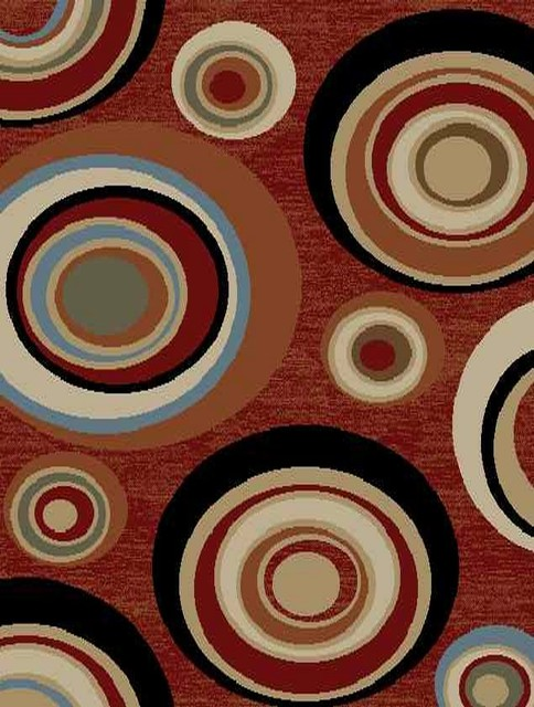 Dark Red Contemporary Abstract Design Rug contemporary-area-rugs