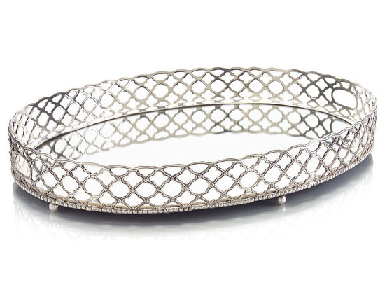 Silver Gallery Trellis Tray - A blend of metropolitan modernity and old-world glamour, the Trellis Gallery Silver Tray calls to mind soirees where the fashionable meet and the beau monde mingle. A delicate trellis weave encircles the tray, creating an airy border that surrounds the oval mirror panel that forms the tray base. A cutout handle at each end of the tray allows for ease in carrying.