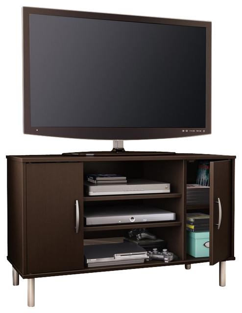 South Shore Renta Corner TV Stand in Chocolate modern-media-storage