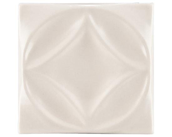"Ceramic - ANN SACKS Circa 4"" x 4"" harlequin circle ceramic decorative tile in warm candle white gloss"