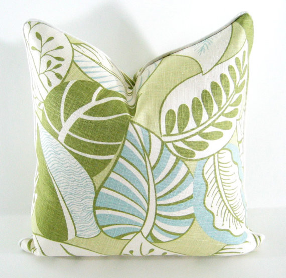 Decorative Pillows Blue Green : Blue, Green Decorative Pillow Cover in Tropical Leaves By Annsliee - Contemporary - Decorative ...