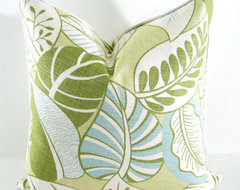 Blue, Green Decorative Pillow Cover in Tropical Leaves By Annsliee contemporary-decorative-pillows