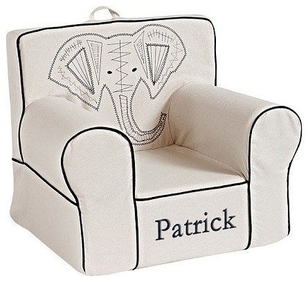 Linen Navy Elephant Anywhere Chair Contemporary Kids