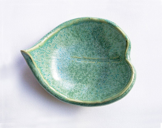 Tiny Aqua Leaf Bowl Ceramic By artlauren eclectic accessories and decor
