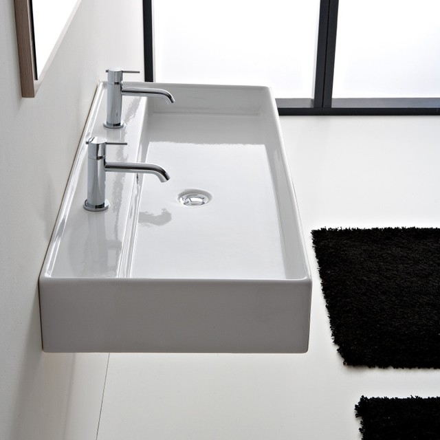 ... White Ceramic Wall Mounted or Vessel Sink contemporary-bathroom-sinks