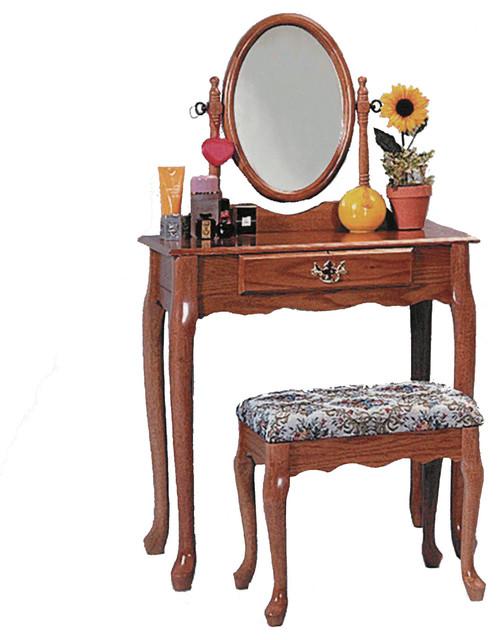 Queen anne style vanity set bathroom makeup table stool for Oak makeup table