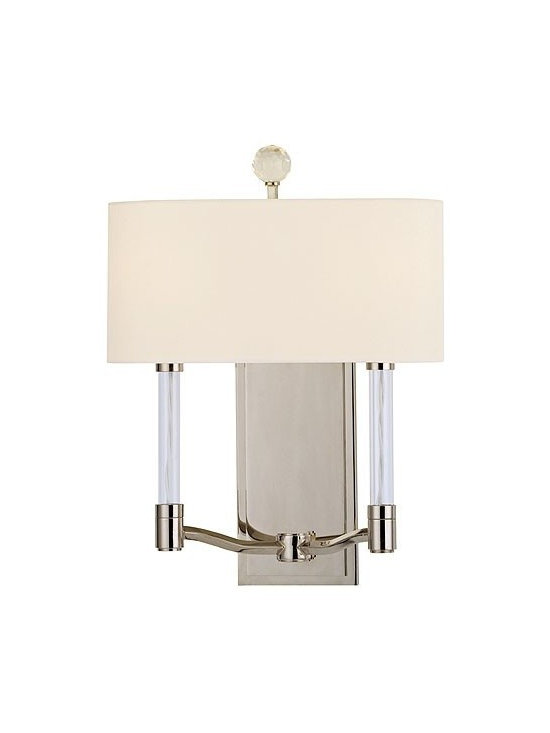 Hudson Valley Lighting - Hudson Valley Lighting | Waterloo Two Light Wall Sconce - Design by Hudson Valley, 2012.The angular, upright orientation of the Waterloo Two Light Wall Sconce is highlighted by the use of crystal and glass embellishment. A cut-crystal prism at the top of the fixture scatters the warm light of two glass-sleeved candlesticks, while a soft custom shade simultaneously diffuses the light source. Thoughtful details like the white cloth wiring inside the transparent glass sleeves, streamlined arms and a simple, stepped, rectangular backplate keep the design grounded and elegant. Spider/finial shade attachment. Hard-wired.